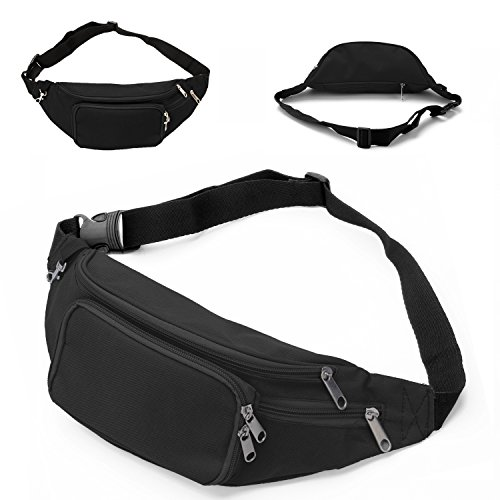 Large Waist Pack Belt Bag with 4 Pockets for Traveling Sports Hiking Running Climbing Men Women Holder Cell Phone,Passport,Cards,Cash and Other Belongs EOTW Fanny Pack Waist Bag, New Version