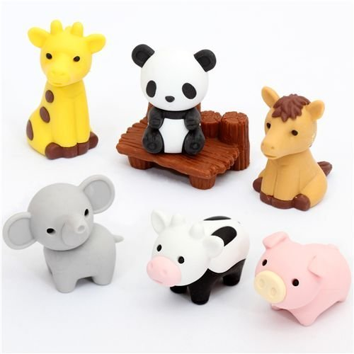 Iwako Japanese Eraser / Zoo Animal Set on Card - 1