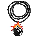 New Hip-Hop Fashion Good Wood black Bomb-Shape Pendant Ball Bead Chain Necklace