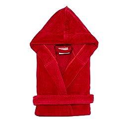 Kid\'s Terry Velour Hooded Robe 100% Pure Cotton Boys Girls Bathrobe(red,S/M)
