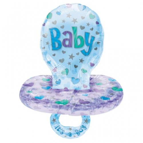 Giant Blue Dummy/Pacifier New Baby Boy Supershape Foil Balloon front-947191