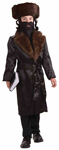 [Forum Novelties Jewish Rabbi Child Costume Black Jacket Faux Fur Medium 8-10] (Star Trek Costume Forum)