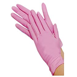 Megatainer SafeTouch Disposable Gloves, Non Latex, Powder-Free,Pink,Large,Box/100