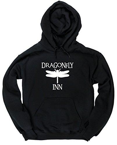 HippoWarehouse Dragonfly Unisex Felpa con cappuccio Black X-Large