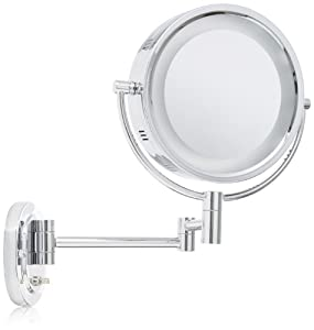 Jerdon HL65C 8-Inch Two-Sided Swivel Halo Lighted Wall Mount Mirror with 5x Magnification, 13-Inch Extension, Chrome Finish