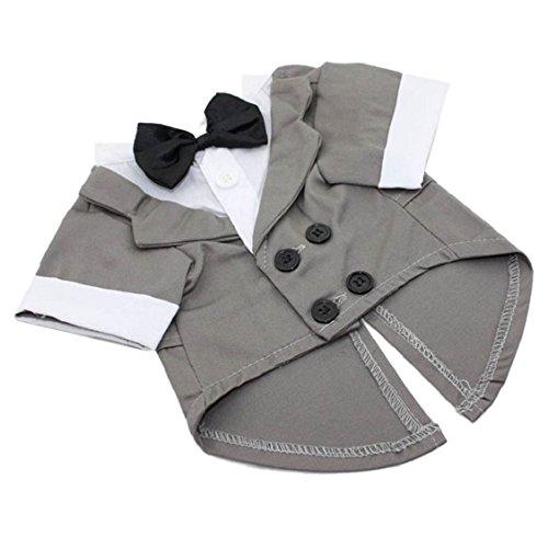 [Egmy Fashion Pet Suit Small Pet Dog Puppy Cat Tuxedo Bow Tie Wedding Suit Costumes Coat (XS, Gray)] (Dapper Dog Tuxedo Pet Costumes)