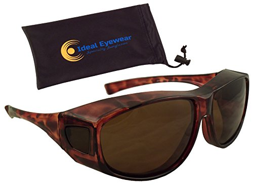 Sun Shield Fit Over Sunglasses with Polarized Lenses by Ideal Eyewear - Wear Over Prescription Glasses - Great for Fishing, Boating, Watersports, Golf, & Driving (Brown Frame / Brown Lens, Medium)