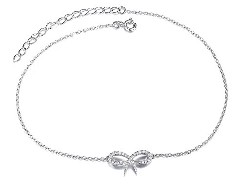 Women's Bow ANKLET  DIAMANTES 925 Sterling Silver