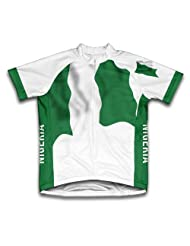 Nigeria Flag Short Sleeve Cycling Jersey for Women