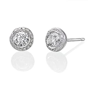 3/4 Ct, J Color, VS2 Clarity, GIA Certified, Round Cut, Diamond Earrings in 14K Gold / White