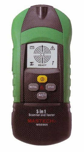 Mastech MS6908 5-in-1 Stud Finder, Metal Detector, Non-contact AC Voltage Detector, Receptacle & GFCI Tester with Flashlight