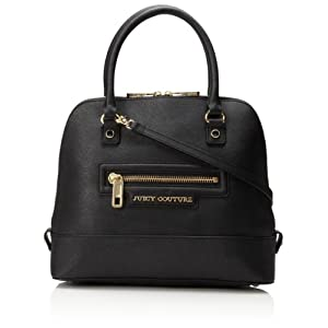 Juicy Couture Sophia Leather Collection Satchel Top Handle Bag,Black,One Size