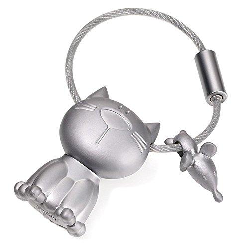troika-kr14-20-katz-maus-porte-cles-chat-et-souris-fonte-metallique-mat