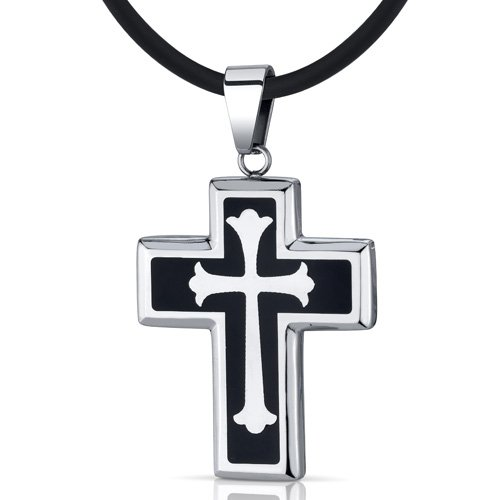 Stainless Steel Fleur-de-lis Medieval Cross Unisex Pendant Necklace