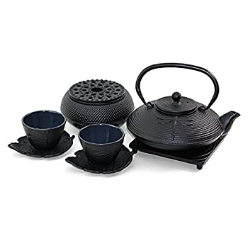 Japanese Antique 24 fl oz Black Dragonfly Cast Iron Teapot Tetsubin with Infuser Tea Set with Trivet + Teapot warmer