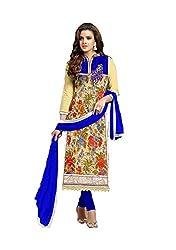 Leela Creators Printed Soft Brasso Salwar Suits (Blue)