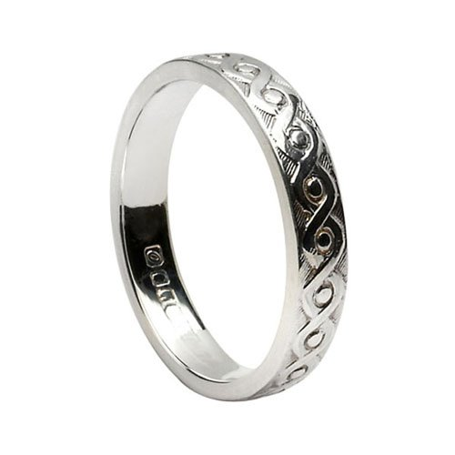 Ladies Celtic Knot Irish Wedding Band-Silver-Size 6