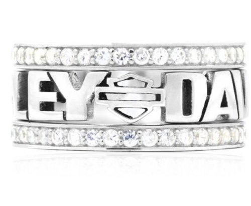 Harley-Davidson® Women's Sterling Silver Stacking Ring. Zirconia Crystals. HDR0294