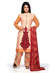 Utsav Fashion Women's Peach Cotton Readymade Kameez With Straight Pant-Small