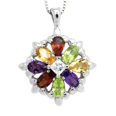 100% Luxury Genuine Amethyst Peridot Garnet Citrine 925 Silver White Gold Plating Necklace Gem Jewellery