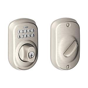 Schlage BE365 PLY 619 Plymouth Keypad Deadbolt, Satin Nickel