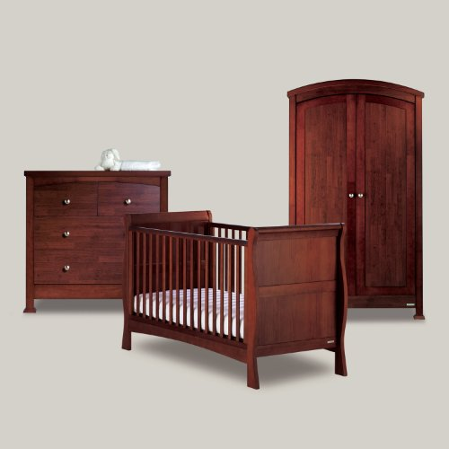 BAILEY MAHOGANY 3 PIECE NURSERY FURNITURE SET (Cot Bed, Wardrobe, Drawers)