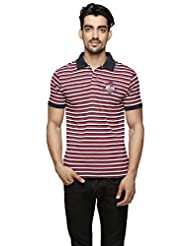 Aliep Red Cotton Striped Regular Fit Polo T-shirt For Men