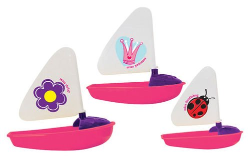 Nesting Princess Sailboats Bath Toy Set: 3 Colorful 4 to 6 inch long Boats