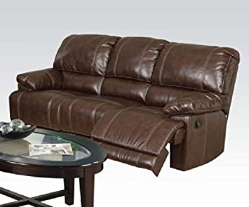 Daishiro Bonded Leather Sofa in Chestnut Finish by Acme Furniture