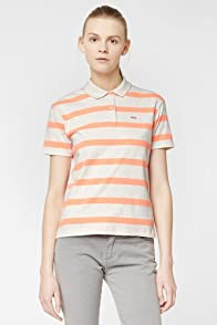 L!VE Short Sleeve Stretch Striped Pique Polo