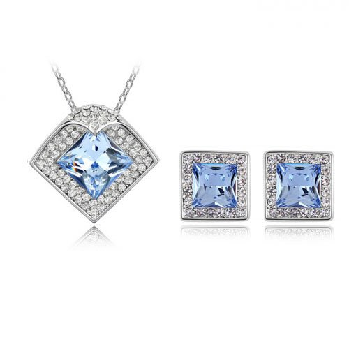 Fervent Love Boutique Fashion Jewelry Austrilian Crystal Square Light Sapphire Sets For Women Girls