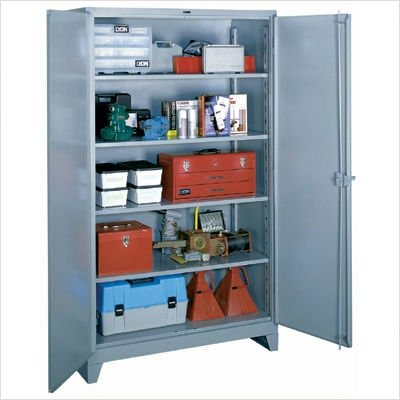 "Lyon DD1120 All Welded Steel Shelf Cabinet with Standard Door, 48"" Width x 24"" Depth x 82"" Height, Dove Gray"