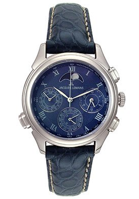 Jacques Lemans Men's Limited Edition Minute Repeater - Blue Alligator Stainless Steel