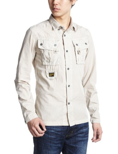 G-Star Men's Halo Corsair Long Sleeve Shirt, Beige, Large