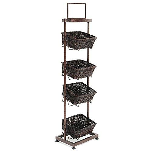 4 Tier Floor Standing Basket Display Merchandising Rack (Basket Floor compare prices)