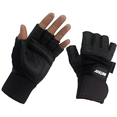 Leather Gym Gloves Black With Wrist Support MT-02 Large by Meteor