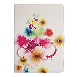 Floral Case for iPad Air 2, Flip Case for iPad 6, IKASEFU(TM) Girl's Cute Flower PU Leather Folio Case Protective Book Style Flip Cover Bling Case with Stand and Rhinestone for Apple iPad Air 2/ iPad 6(2014 Release)(Colorful Cherry)