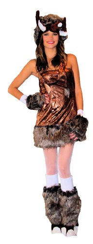 Women's Wooly Mammoth 4pc. Costume S/M Brown