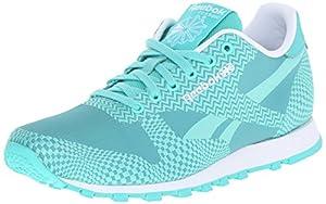 Reebok Women's Classic Runner Summer Brights Classic Shoe, Emerald Sea/Emerald Haze/White, 8.5 M US