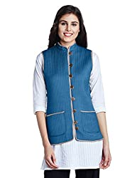 Jaypore Women's Art Silk Quilted Jacket (JPJAPJ000094415-S_Indigo and Grey)