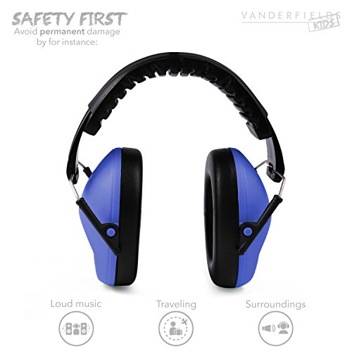 Vanderfields Earmuffs for Kids – Hearing Protection Muffs For Children Small Adults Women – Foldable Design Ear Defenders Protector with Adjustable Padded Headband Noise Reduction