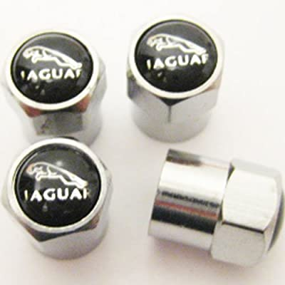 Set of 4 Jaguar Logo Chrome Tire Valve Stem Caps (Made of Metal)