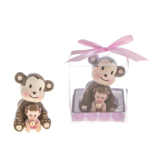 "Lunaura Baby Keepsake - Set of 12 ""Girl"" Baby Holding Rattle Sitting Next to Monkey Favors - Pink"