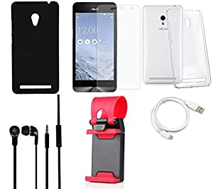 NIROSHA Tempered Glass Screen Guard Cover Case Headphone USB Cable Mobile Holder for ASUS Zenfone 6 - Combo