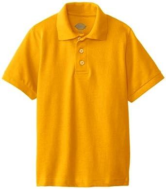Dickies Big Boys' Boy's Short Sleeve Pique Polo, Gold, Medium