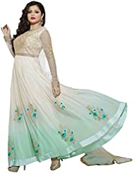 Sk Creation White And Sky Neck Embroidered Semi Stitched Long Anarkali Suit