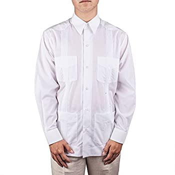 Men's Cotton blend guayabera long sleeve.