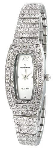 Peugeot Ladies Silvertone Crystal Encrusted Watch featuring 266 Total Individual Crystals