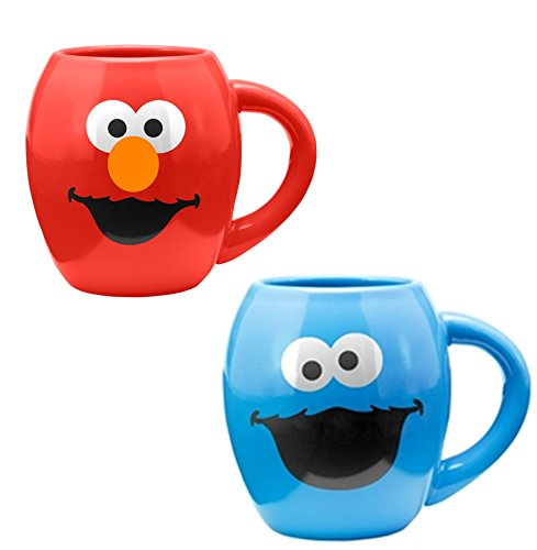 Sesame Street Elmo and Cookie Monster 18-oz Oval Ceramic Mug Set