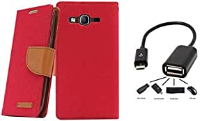 Relax And Shop Flip Cover With OTG Cable For MOTOROLA MOTO E - (Pink Flip + OTG)